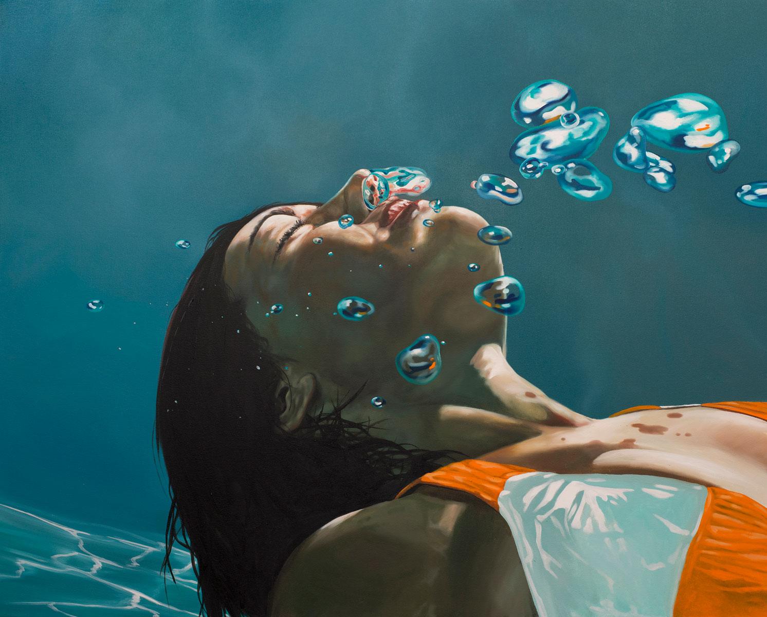 underwater painting of people by houston - 736×591